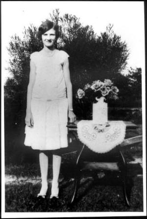 Primary view of object titled '[Outdoor full length photograph of Anita Rathke]'.
