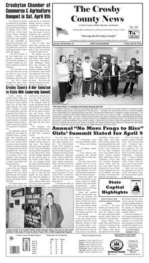 Crosby County News (Ralls, Tex.), Vol. 129, No. 14, Ed. 1 Friday, April 8, 2016