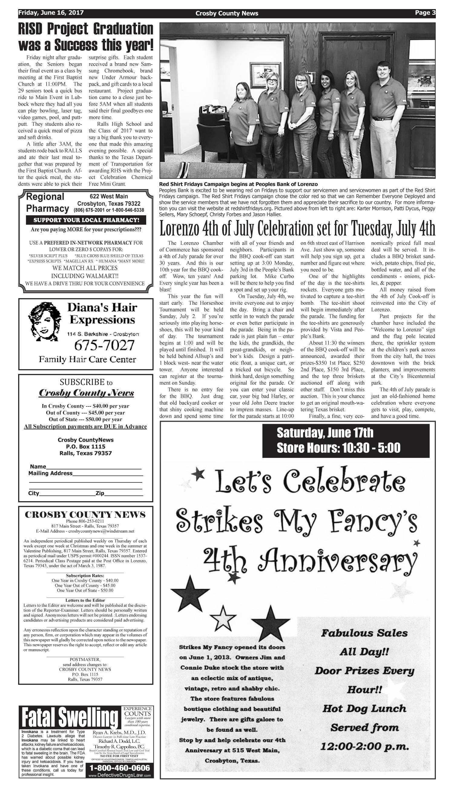 Crosby County News (Ralls, Tex.), Vol. 130, No. 24, Ed. 1 Friday, June 16, 2017                                                                                                      [Sequence #]: 3 of 10