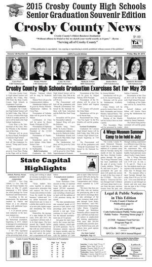 Crosby County News (Ralls, Tex.), Vol. 128, No. 24, Ed. 1 Friday, May 29, 2015