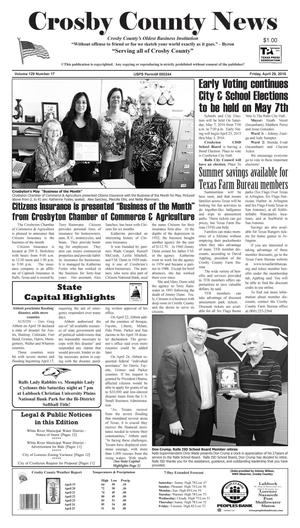 Primary view of object titled 'Crosby County News (Ralls, Tex.), Vol. 129, No. 17, Ed. 1 Friday, April 29, 2016'.