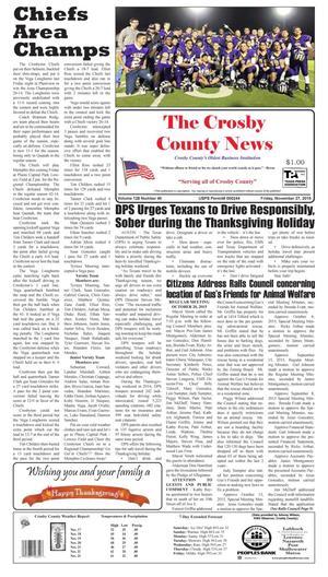 Crosby County News (Ralls, Tex.), Vol. 128, No. 46, Ed. 1 Friday, November 27, 2015