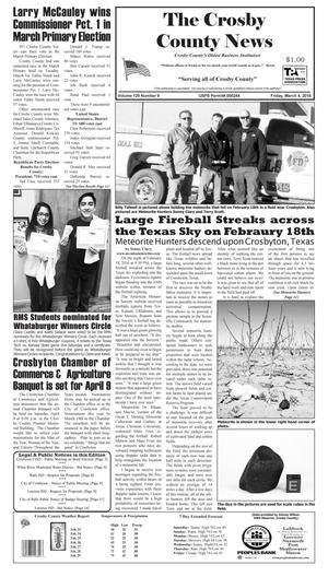 Crosby County News (Ralls, Tex.), Vol. 129, No. 9, Ed. 1 Friday, March 4, 2016