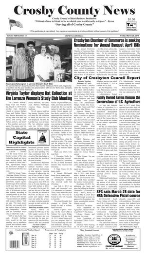 Primary view of object titled 'Crosby County News (Ralls, Tex.), Vol. 128, No. 12, Ed. 1 Friday, March 20, 2015'.