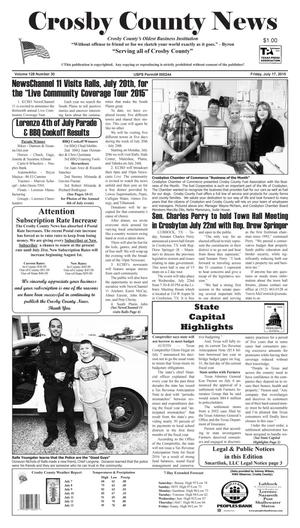 Primary view of object titled 'Crosby County News (Ralls, Tex.), Vol. 128, No. 30, Ed. 1 Friday, July 17, 2015'.
