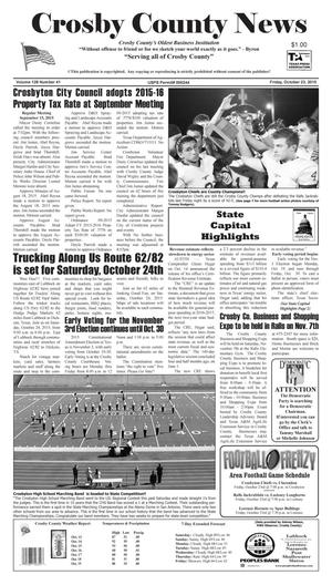 Primary view of Crosby County News (Ralls, Tex.), Vol. 128, No. 41, Ed. 1 Friday, October 23, 2015