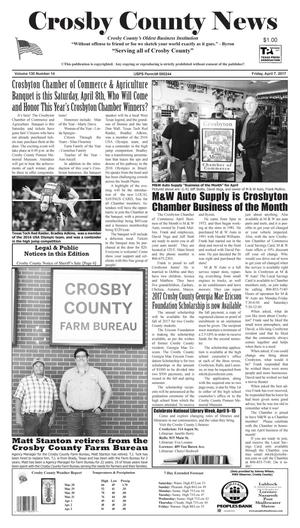 Primary view of object titled 'Crosby County News (Ralls, Tex.), Vol. 130, No. 14, Ed. 1 Friday, April 7, 2017'.