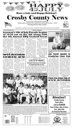 Primary view of object titled 'Crosby County News (Ralls, Tex.), Vol. 129, No. 26, Ed. 1 Friday, July 1, 2016'.