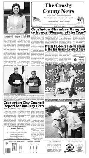 Primary view of object titled 'Crosby County News (Ralls, Tex.), Vol. 130, No. 9, Ed. 1 Friday, March 3, 2017'.