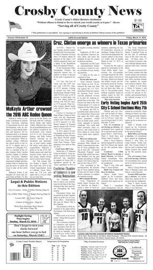 Crosby County News (Ralls, Tex.), Vol. 129, No. 10, Ed. 1 Friday, March 11, 2016