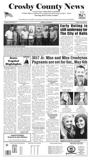 Primary view of object titled 'Crosby County News (Ralls, Tex.), Vol. 130, No. 17, Ed. 1 Friday, April 28, 2017'.