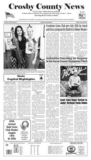 Crosby County News (Ralls, Tex.), Vol. 129, No. 29, Ed. 1 Friday, July 29, 2016