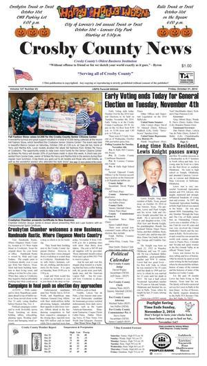 Crosby County News (Ralls, Tex.), Vol. 127, No. 43, Ed. 1 Friday, October 31, 2014