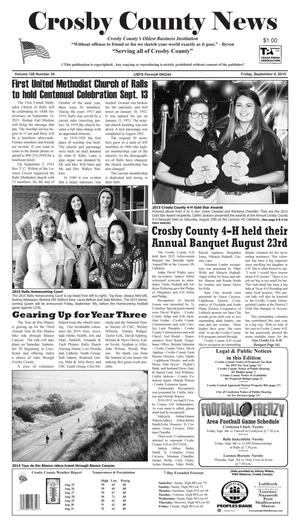 Primary view of object titled 'Crosby County News (Ralls, Tex.), Vol. 128, No. 34, Ed. 1 Friday, September 4, 2015'.