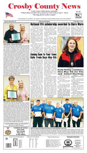 Crosby County News (Ralls, Tex.), Vol. 128, No. 18, Ed. 1 Friday, May 1, 2015