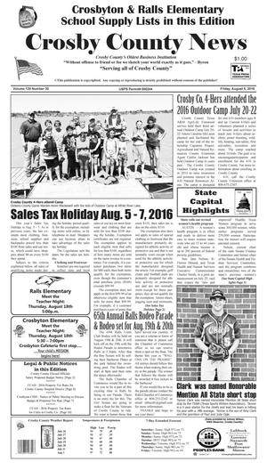 Primary view of object titled 'Crosby County News (Ralls, Tex.), Vol. 129, No. 30, Ed. 1 Friday, August 5, 2016'.