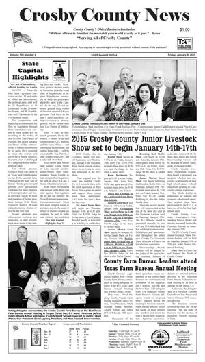 Primary view of object titled 'Crosby County News (Ralls, Tex.), Vol. 128, No. 2, Ed. 1 Friday, January 9, 2015'.
