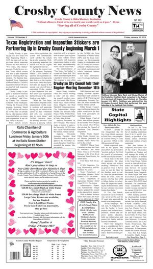 Primary view of object titled 'Crosby County News (Ralls, Tex.), Vol. 128, No. 5, Ed. 1 Friday, January 30, 2015'.