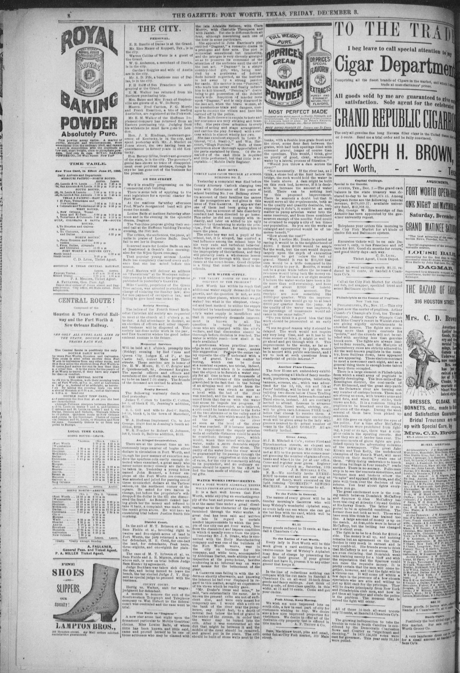 Fort Worth Daily Gazette Fort Worth Tex Vol 12 No 126 Ed