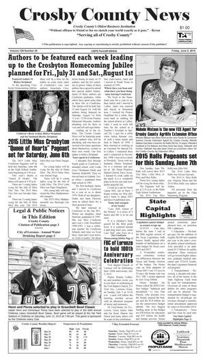 Crosby County News (Ralls, Tex.), Vol. 128, No. 25, Ed. 1 Friday, June 5, 2015