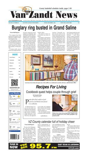 Primary view of object titled 'Van Zandt News (Canton, Tex.), Vol. 33, No. 30, Ed. 1 Sunday, December 1, 2013'.