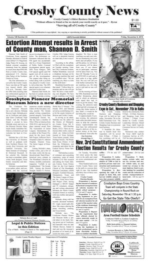 Primary view of object titled 'Crosby County News (Ralls, Tex.), Vol. 128, No. 43, Ed. 1 Friday, November 6, 2015'.