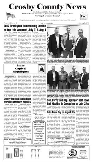 Primary view of object titled 'Crosby County News (Ralls, Tex.), Vol. 128, No. 32, Ed. 1 Friday, July 31, 2015'.