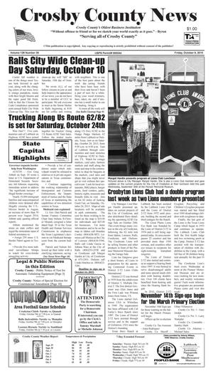 Primary view of object titled 'Crosby County News (Ralls, Tex.), Vol. 128, No. 39, Ed. 1 Friday, October 9, 2015'.