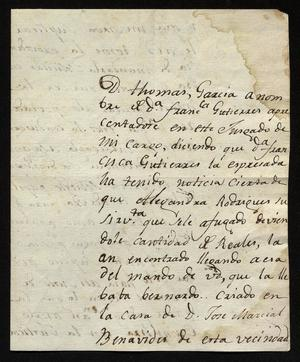 Primary view of object titled '[Letter from José Antonio Benites to Francisco de la Garza, October 19, 1818]'.