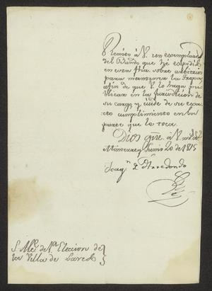 Primary view of object titled '[Announcement from Joaquín de Arredondo]'.
