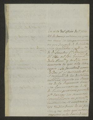 Primary view of object titled '[Letter from Josef Marcelo de Ynojosa to the Mayor of Laredo, July 1, 1822]'.