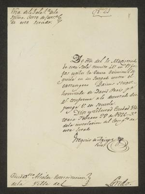 Primary view of object titled '[Letter from Gregorio de Arizpe to the Laredo Alcalde, February 23, 1826]'.