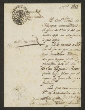 Primary view of object titled '[Letter from Gaspar de Ochoa to the Laredo Alcalde, June 22, 1824]'.