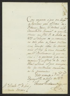 Primary view of [Message from Juan Echeandía to a Laredo Alcalde, July 12, 1815]