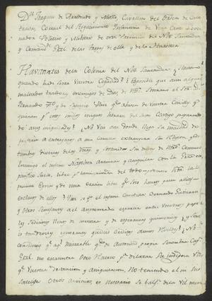 Primary view of [Announcement from Joaquín de Arredondo]
