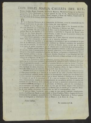 Primary view of object titled '[Printed Laws from Viceroy Felix Calleja]'.