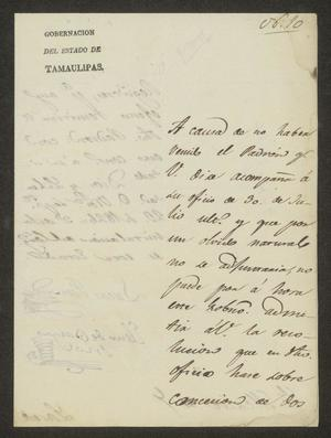 Primary view of object titled '[Letter from Lucas Fernández to the Laredo Alcalde, September 23, 1826]'.