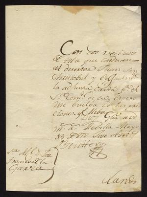 Primary view of object titled '[Letter from José Antonio Benites to José Francisco de la Garza, May 13, 1818]'.