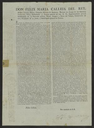 Primary view of [Decree from Spain Promulgated by Viceroy Calleja]
