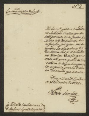 Primary view of object titled '[Letter from Nicasio Sánchez to the Laredo Alcalde, December 5, 1826]'.