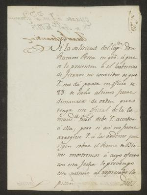 Primary view of object titled '[Message from Juan Echandía to Alcalde Tovar, September 5, 1815]'.