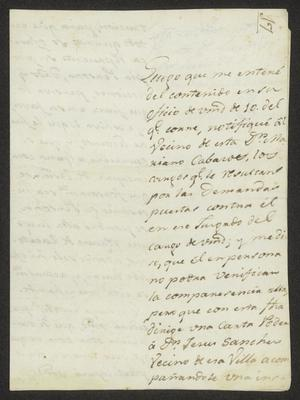 Primary view of object titled '[Announcement from José Andrés de Sobrevilla]'.