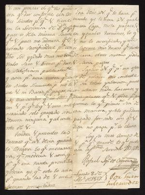 Primary view of [Letter from Rafael López de Oropeza to José María Tovar, April 8, 1817]