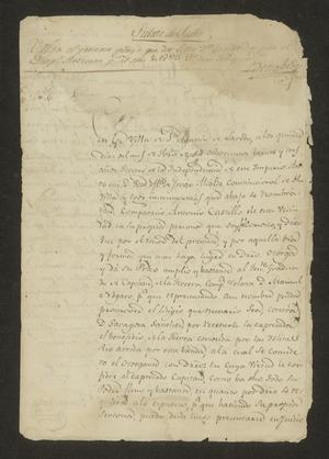 Primary view of object titled '[Announcement from José María Tovar]'.