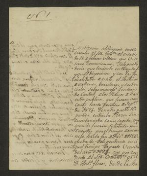 Primary view of [Letter from José Lázaro Benavides to the Laredo Alcalde, June 21, 1826]