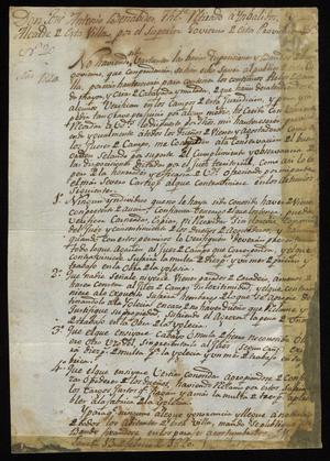 Primary view of object titled '[Regulations from Alcalde José Antonio Benavides]'.