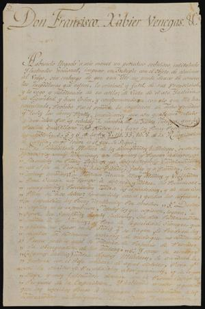 Primary view of object titled '[Copy of a Message from Viceroy Venegas]'.