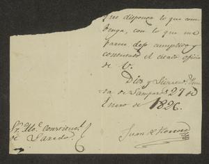 Primary view of [Note from Juan de Herrera to the Laredo Alcalde, January 27, 1826]