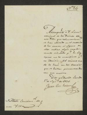 Primary view of object titled '[Letter from Juan José Galán to the Laredo Alcalde, September 1, 1826]'.