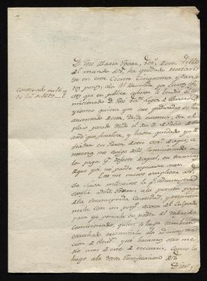 Primary view of [Message from José Ignacio de Treviño to a Man in Laredo, December 23, 1818]